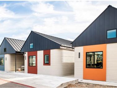 Vila de casas impressas em 3D é construída para sem-teto, Austin,Texas, EUA.