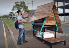 """""""El Ambulantito""""  no Equador abrigo móvel para sem tetos."""