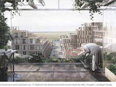 A 'UN17 Village' sul de Copenhague na Dinamarca será o lar de 830 pessoas idosos e crianças.