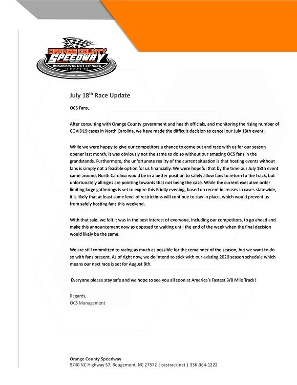 OCS_Press Release_July 18 Race Cancellat