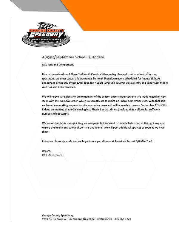 OCS_Press Release_Aug 15 Race Cancellati