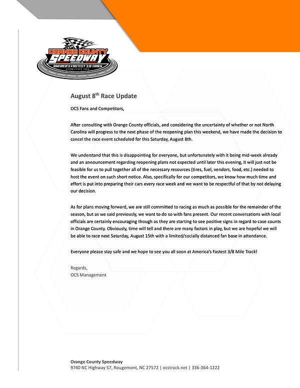 OCS_Press Release_Aug 8 Race Cancellatio