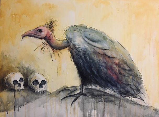 Vulture and skulls