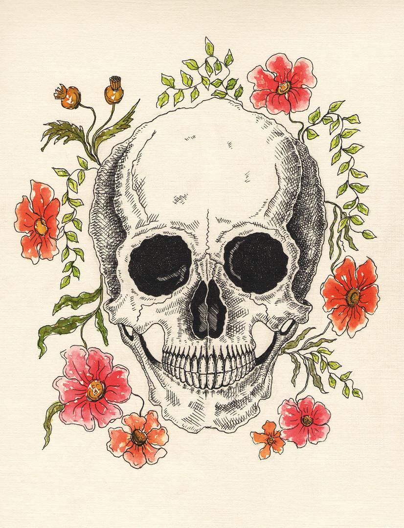 Skull and Flowers White