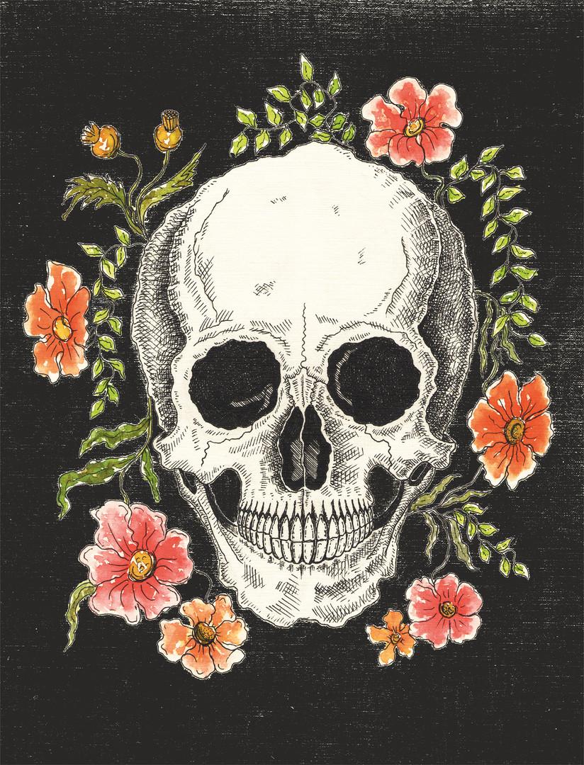 Skull and Flowers Black