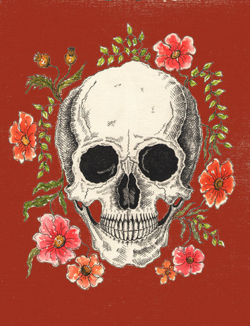 Skull and Flowers Red