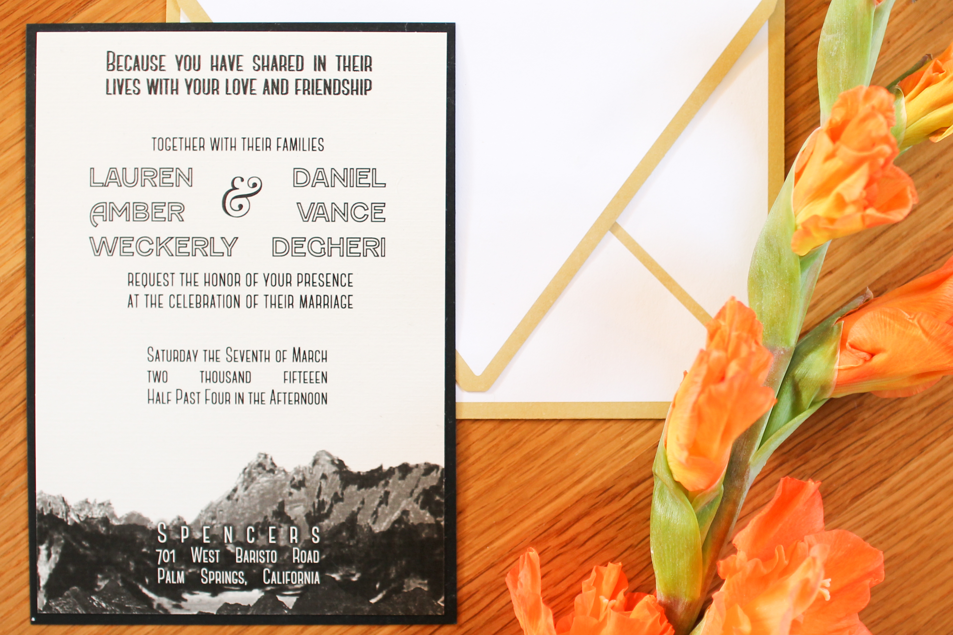 Main Invite Palm Springs Wedding