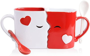 Cute Kissing Mugs and Two Spoons