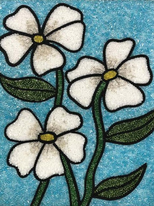 DIY Bead Mosaic Kit - White Flowers