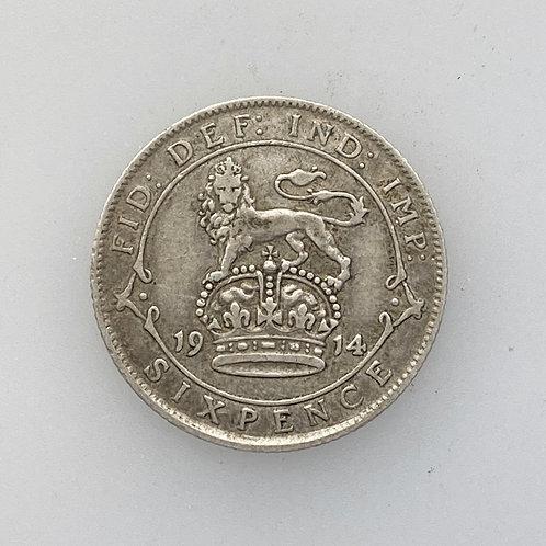 1914 Sixpence, George V.