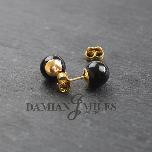 Black Onyx ball studs on 9ct gold fittings