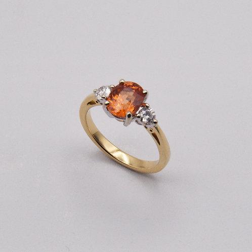 Spessartine and Diamond 3 stone ring.