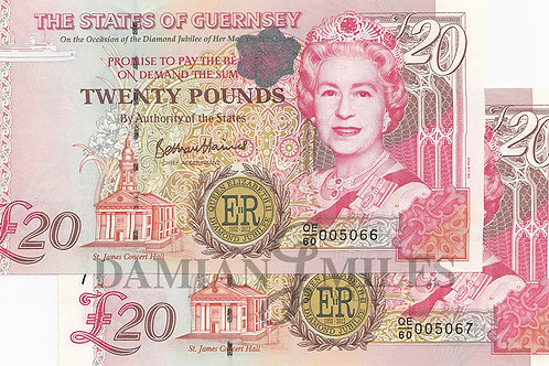 A Pair of Guernsey, Diamond Jubilee £20 notes.