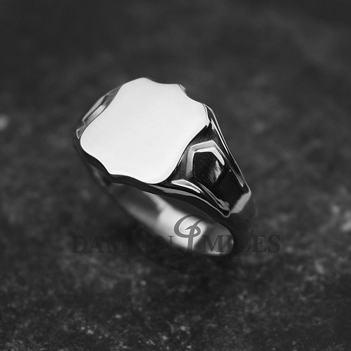 Shield Signet Ring. Gents, heavy, Sterling Silver signet ring.