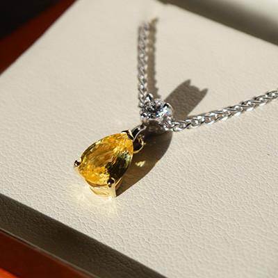 Yellow Sapphire and Diamond Pendant