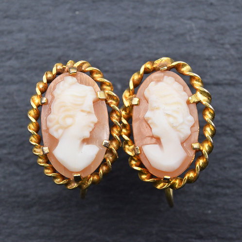 Vintage 9ct Gold Cameo Earrings