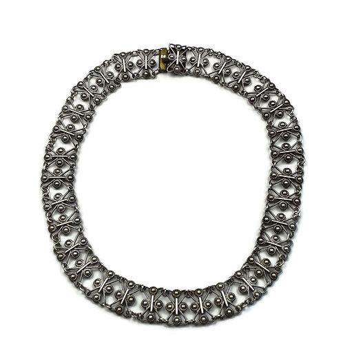 Indian silver collar necklet
