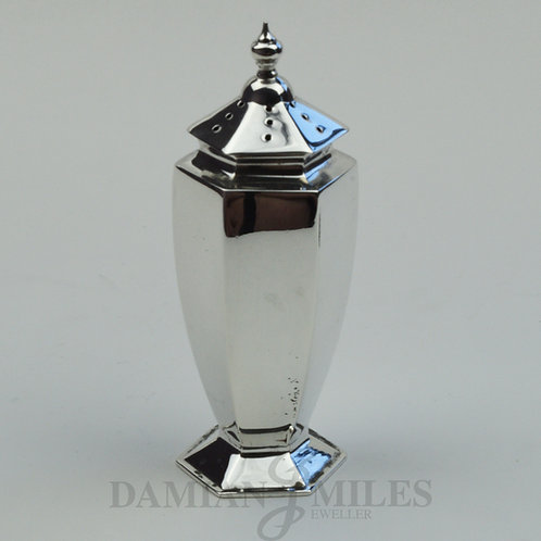 Deco Style Pepper Pot in Sterling Silver