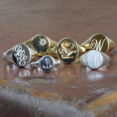 Gold and Silver Hand Engraved Signet Rings