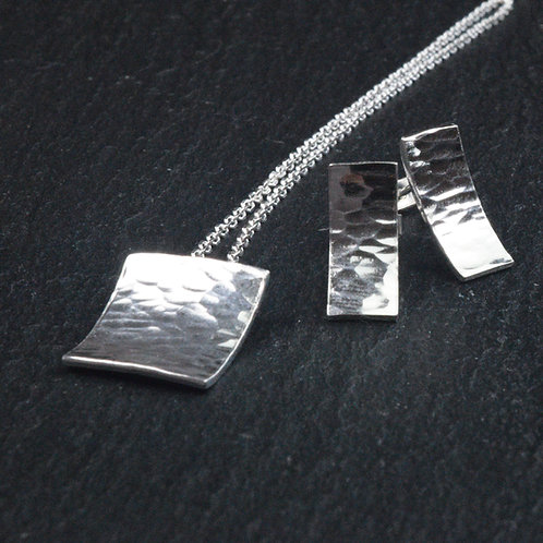 Hammered Finish Pendant and Earring set