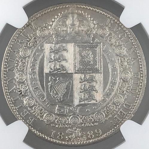 1889 Half Crown, Victoria, Unc, Slabbed by NGC.