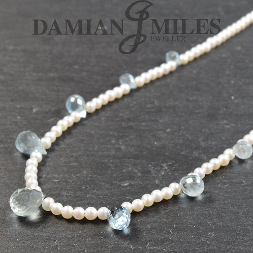 Aquamarine and Freshwater Cultured Pearl necklace.