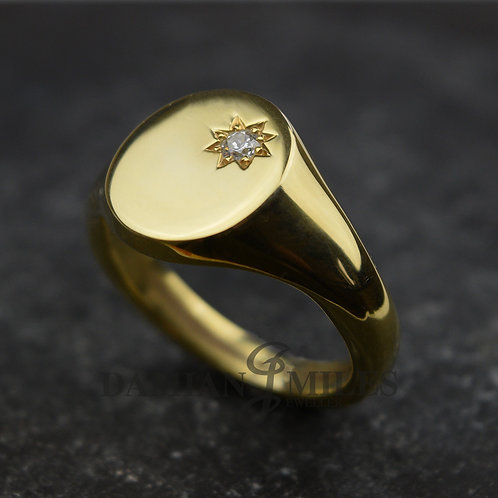 Gents Diamond Set Signet ring in 9ct gold