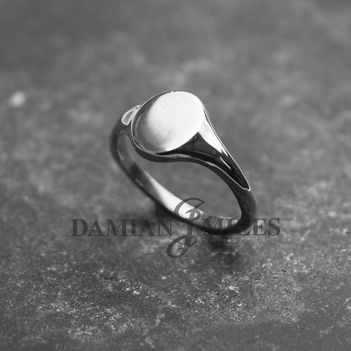Lady's, small oval, Sterling Silver signet ring.
