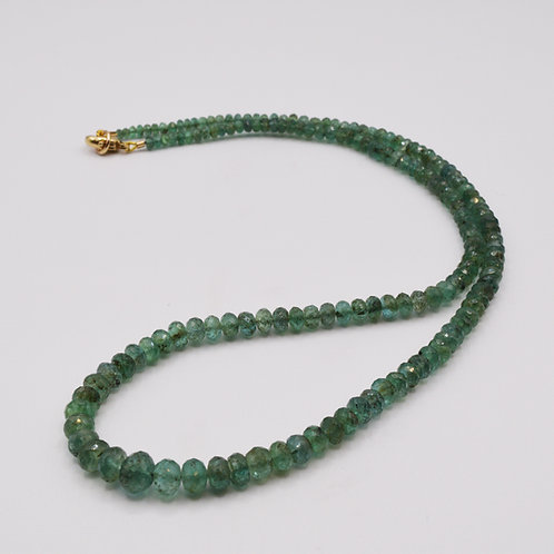Emerald Beads on a 9ct yellow gold clasp.