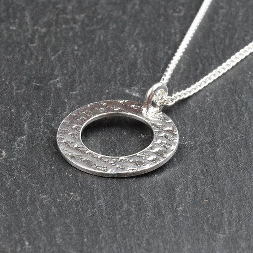 Linen Textured Circle Pendant