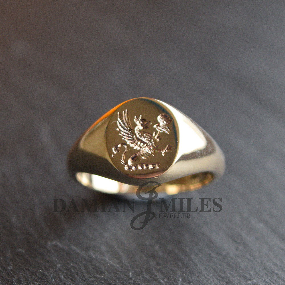 Custom Seal engraved signet ring in 9ct gold.