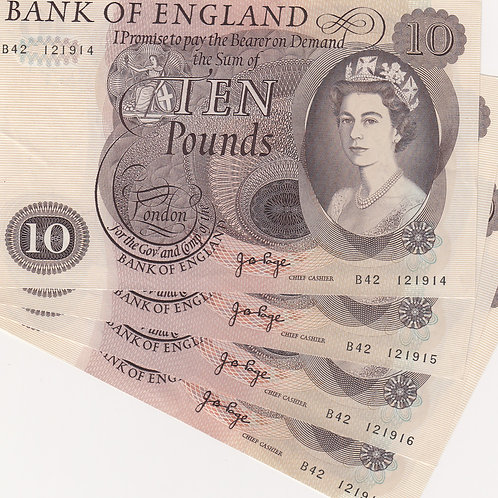 Consecutive Run of 4 £10 Notes. J.B. Page