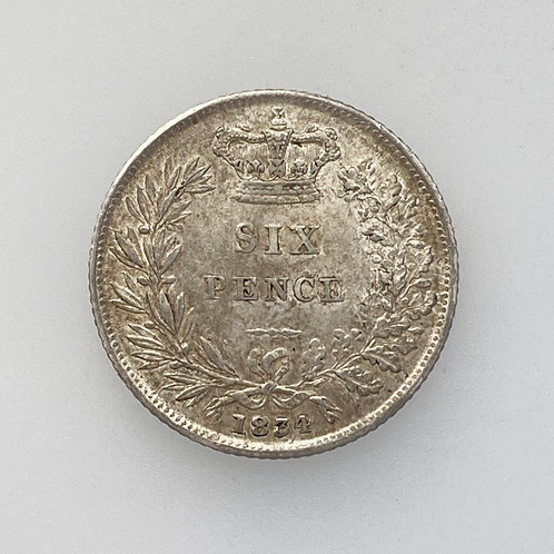 1834 Sixpence, William IV, Decent grade.