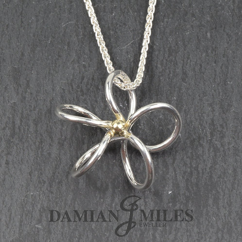 Fine Silver and 18ct gold Flower pendant