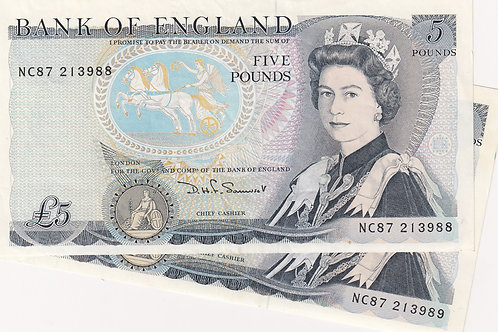 D.H.F. Somerset £5 Note. Pair