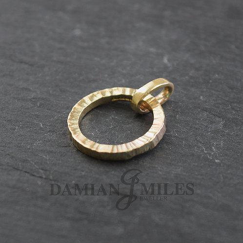 Cross hammered Hoop pendant