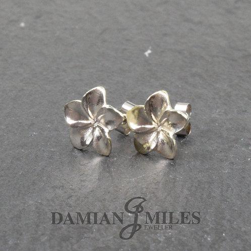 9ct White Gold Frangipani Flower Earrings