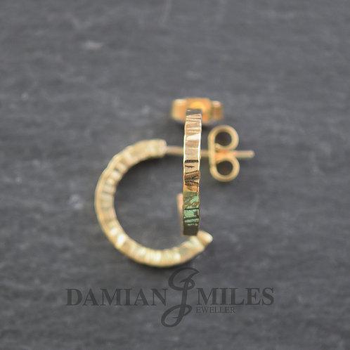Cross hammered hoop earrings