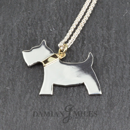 Scottie Pendant in Sterling Silver and 9ct gold