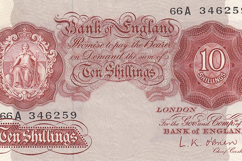 L.K. O'Brien 10 shilling note 1955 REPLACEMENT