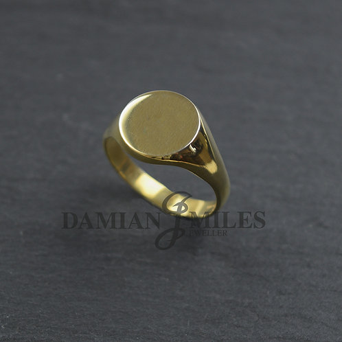 Gents 9ct gold Round signet ring