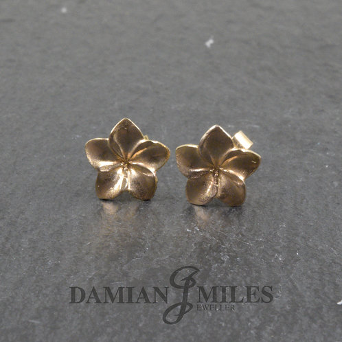 9ct Yellow Gold Frangipani Flower Earrings