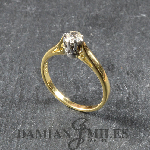 Vintage Single stone Diamond ring in 18ct gold.