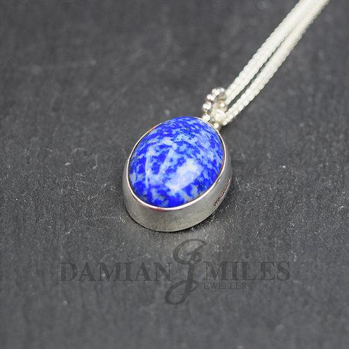 Sterling Silver,Cabochon, Lapis Lazuli pendant.