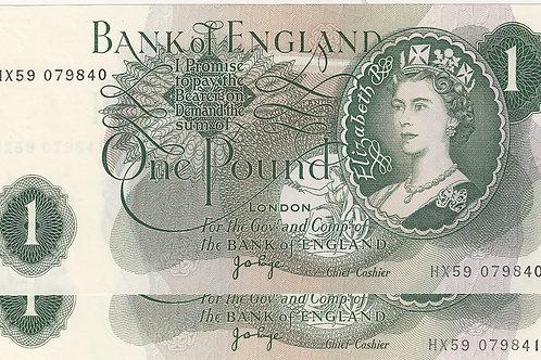 J B Page £1 Pair 1970