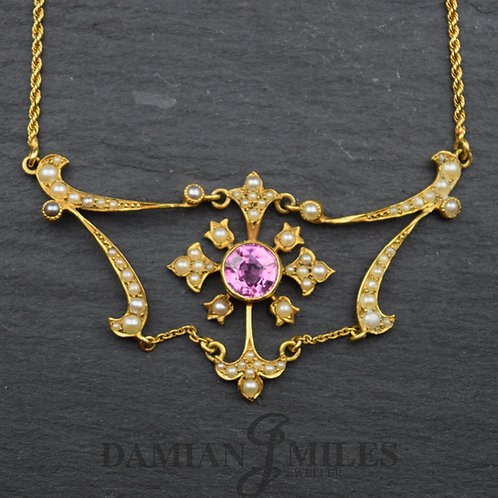 Edwardian Pink Tourmaline and Split Pearl Necklace in 15ct gold.