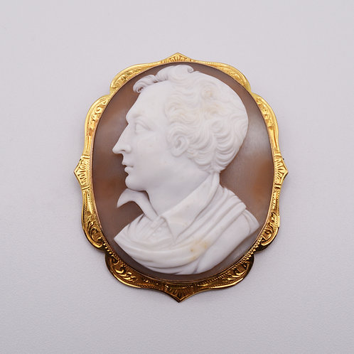 Byron Cameo Brooch Mounted in 9ct gold.