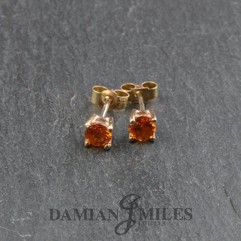 Mandarin Garnet Stud Earrings