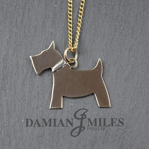 Scottie Pendant in 9ct yellow and white gold