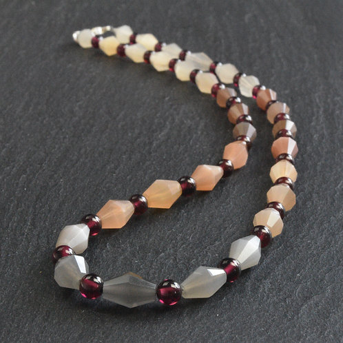 Moonstone and Garnet Necklace.